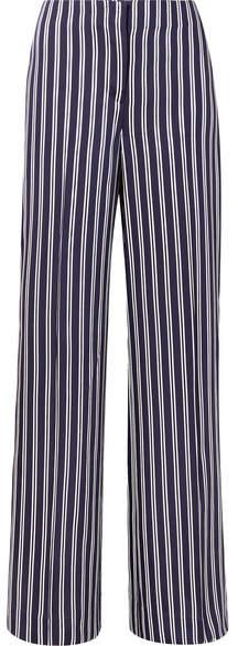 Diane von Furstenberg Striped Satin-twill Wide-leg Pants - Navy