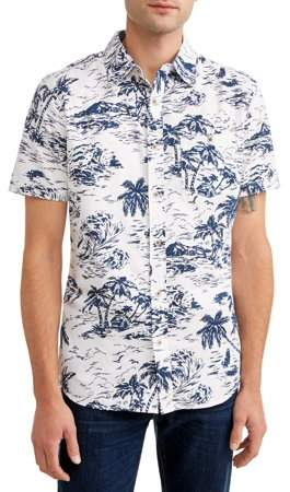 691eea0297 Men's Short Sleeve Button Down Shirt with All-Over Prints, Available up to  size 2XL