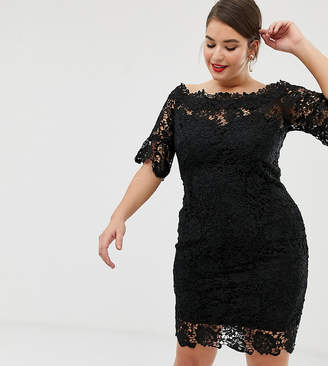 Paper Dolls Plus off shoulder crochet midi dress with frill sleeve in black