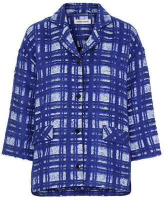 custommade Blue Checked Selma Jacket - Size S | cotton | blue - Blue/Blue
