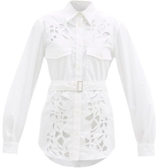 J.W.Anderson Belted Cutout Cotton-poplin Shirt - White