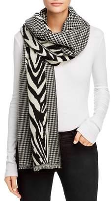 AllSaints Houndstooth & Zebra-Stripe Oblong Scarf
