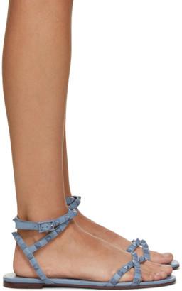 Valentino Blue Garavani Rockstud Cross Flat Sandals