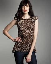 Torn Wendy Leopard-Print Peplum Tank
