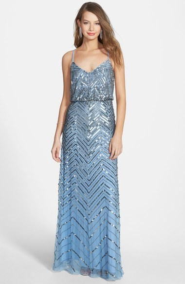 Adrianna Papell Cross Back Sequin Blouson Gown