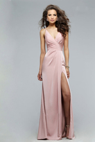 Faviana Classy Satin Dress with Plunging Neckline and High Side Slit 7755E