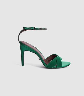 Reiss HAYDEN VELVET TWIST FRONT SANDALS Emerald