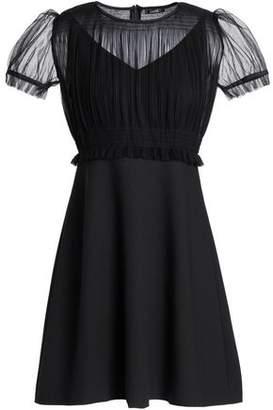 Raoul Pleated Tulle-paneled Crepe Mini Dress