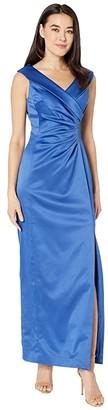 Tahari ASL Petite Stretch Satin Side Draped Long Gown (Cerulean Blue) Women's Dress