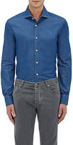 Kiton Men's Cotton Chambray Shirt-BLUE
