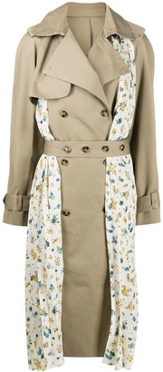 Rokh Pleated Floral Detail Trench Coat