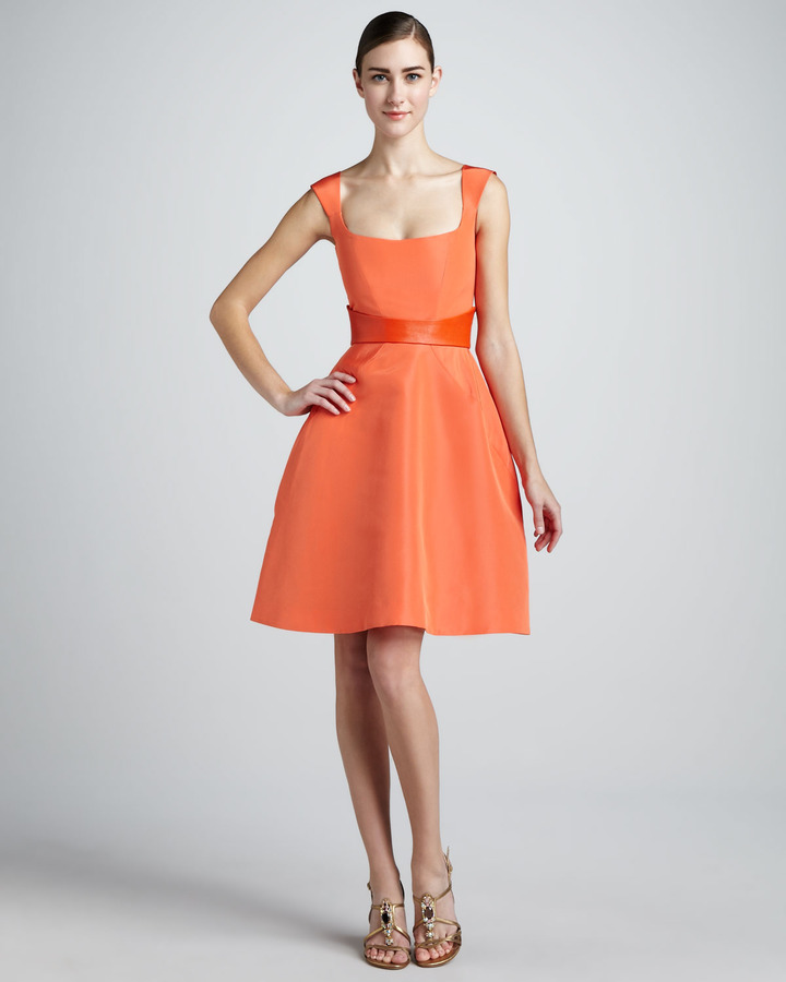 Monique Lhuillier Sleeveless Fit-and-Flare Dress