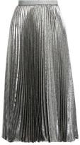 Christopher Kane Pleated silk-blend lamé skirt