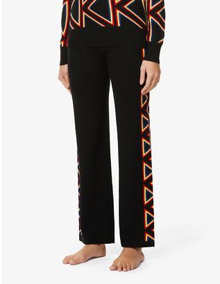 Madeleine Thompson Steel Magnolias geometric-pattern wide-leg cashmere trousers
