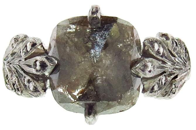 Cathy Waterman Inverted Rustic Diamond Leafside Ring