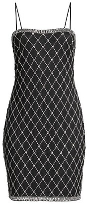 Aidan Mattox Beaded Spaghetti-Strap Sheath Dress