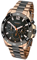 Sekonda 1006.27 Two Tone Rose Gold Plated Chronograph Bracelet Strap Watch, Gunmetal/rose Gold