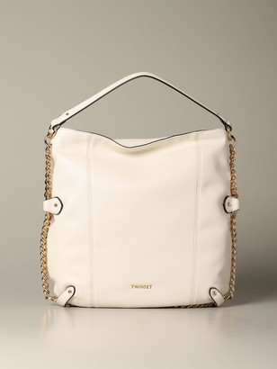 Twin-Set Shoulder Bag In Synthetic Leather With Metal Chains