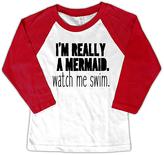 Micro Me White & Red 'Watch Me Swim' Raglan Tee - Toddler & Girls
