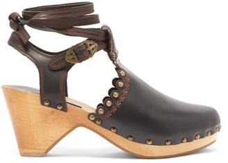 Isabel Marant Tulee Studded Leather Clog Sandals - Black