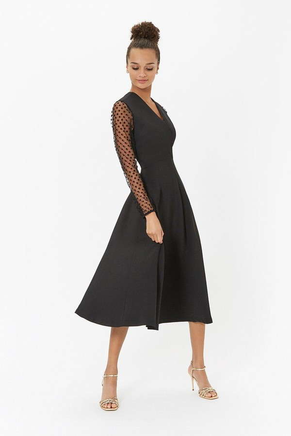 Coast Polkadot Mesh Sleeve Midi Dress