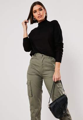Missguided Black Boxy High Neck Knitted Jumper