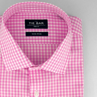 Tie Bar Gingham Bright Pink Non-Iron Dress Shirt