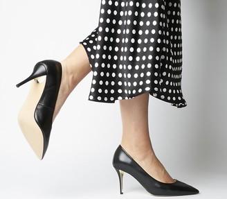 Office Martha Heel Plate Court Shoes Black Venus Luxe W Gold Heel Plate