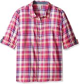 Dickies Women's Plus Size Plaid Quarter Sleeve Roll up Shirt