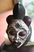 Artisan Crafted Wood Mask, 'Ancestor's Spirit'