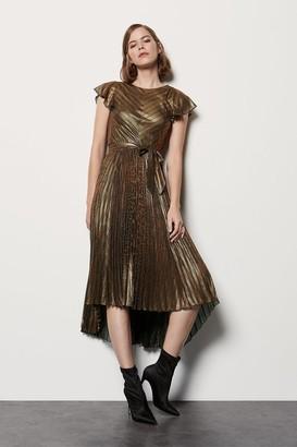 Karen Millen Metallic Pleated V Back Dress