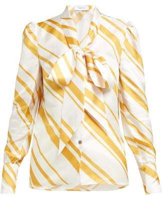 Racil Agata Tie-neck Blouse - Womens - Yellow White