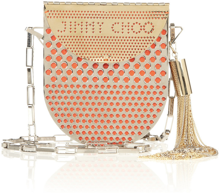 Jimmy Choo Milla perforated metal and leather shoulder bag