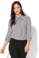 New York & Co. 7th Avenue - Modern - Tie-Front Bow Blouse - Gingham