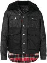 DSQUARED2 tartan-trimmed denim jacket