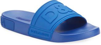 Dolce & Gabbana Men's Logo-Embossed Rubber Slide Sandals