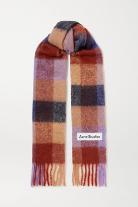 Acne Studios Fringed Checked Knitted Scarf - Brown