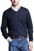 Brunello Cucinelli Fine-Gauge V-Neck Sweater, Plum