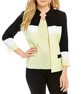 Ming Wang Mandarin Collar Colorblock Jacket