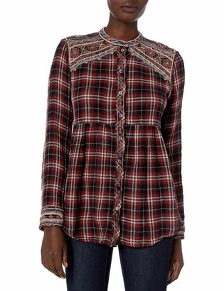 3J Workshop by Johnny was Women's Plaid Buttondown Shirt with Embroidery and Mandarin Collar S