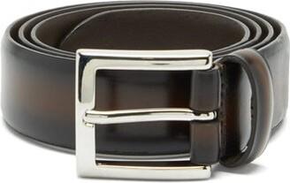 Andersons Distressed-leather Belt - Dark Brown