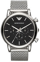 Emporio Armani Men's Classic Black Dial Stainless Steel Mesh Bracelet Chronograph Watch