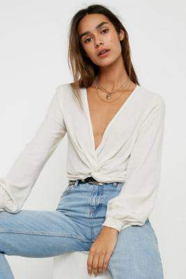 Urban Outfitters Twist Front Blouse - beige S at