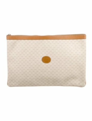 Gucci Vintage Micro GG Large Zip Clutch gold