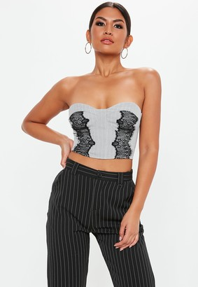 Missguided Grey Pinstripe Lace Detail Bralet