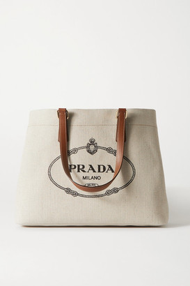 Prada Large Printed Leather-trimmed Canvas Tote - Beige