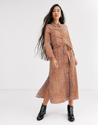 Monki dot print tie waist midi shirt dress in rust