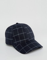 Asos Baseball Cap In Navy Check