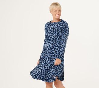 Susan Graver Regular Printed Liquid Knit Drape Neck Dress