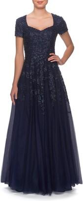 La Femme Embellished Tulle A-Line Gown